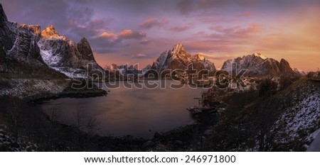 Colorful sunrise over Reine, Lofoten Islands, Norway - stock photo