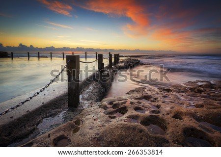 Colorful sunrise seascape. - stock photo