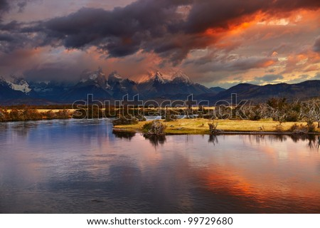 Colorful sunrise, Torres del Paine National Park, Patagonia, Chile - stock photo