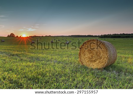 Colorful sunset at rural field with rolls of haystacks.  Focus is on front level of the nearest haystack roll
