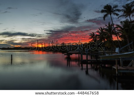 Colorful Sunset In A Port Pine Island Florida