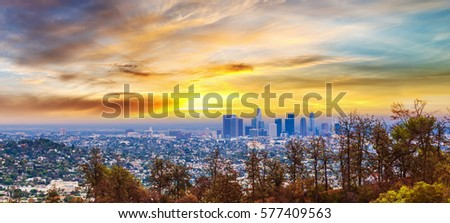 Colorful sunset in Los Angeles, California