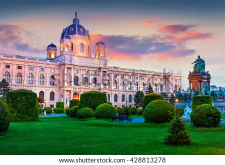 Colorful sunset in Maria Theresa Square with famous Museum for Natural Sciences. Beautifu outdoor scene in Vienna, Austria, Europe. Artistic style post processed photo. - stock photo