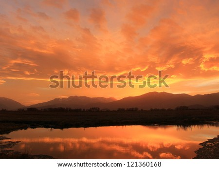 Colorful sunset in the majestic Utah mountains, USA. - stock photo