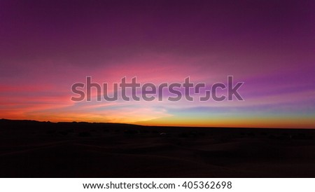 Colorful sunset in the Sahara, Morocco
