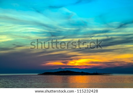 Colorful sunset on island Mljet,near Dubrovnik, Croatia. - stock photo