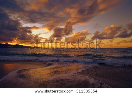 colorful sunset over Las Canteras beach, Las Palmas de Gran Canaria