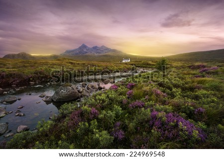 Colorful sunset over the Scottish Higlands, river Sligachan, Scotland - stock photo