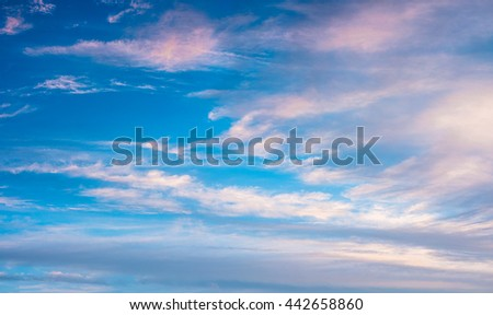 Colorful sunset sky.  Cloudy sky background.