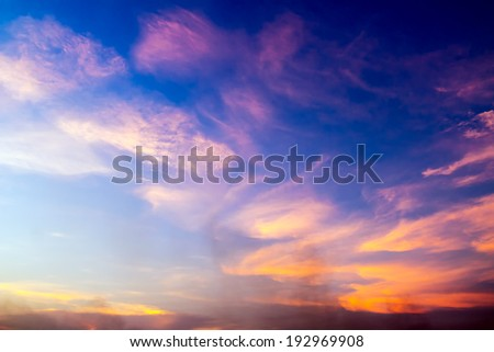 colorful sunset with smoke abstract for background