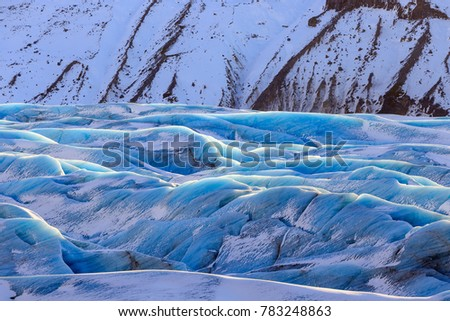 Colorful Svinafellsjokull glacier, Skaftafell National Park, a part of the larger Vatnajokull National Park, Southern Iceland