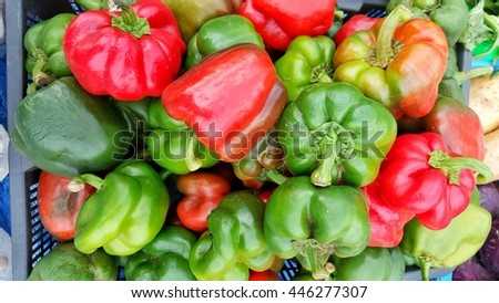 Colorful sweet bell peppers, natural background.