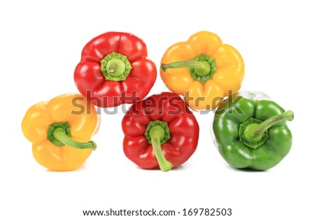 Colorful sweet pepper pyramid. Isolated on a white background.