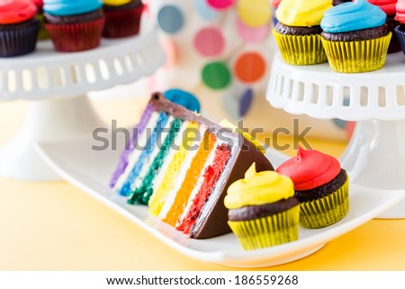 Colorful sweets for kids birthday party celebration. - stock photo