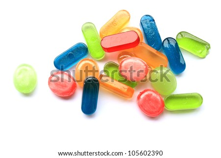 Colorful sweets in bulk isolated on a white background