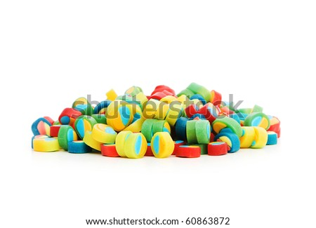 Colorful sweets isolated on the white background