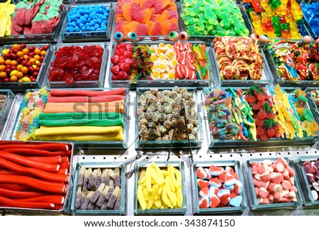 Colorful sweets of sugar candies / photography of the variety candies at the market - stock photo