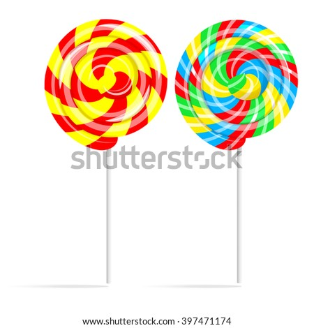 Colorful swirl lollipop set. Lollipop candy on a stick isolated on white background, Illustration - stock photo