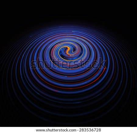 Colorful swirl shape. Image is presented in dark tones with rich blue, orange and red colors. Most striking contrast is presented in the center of the object. Shows mixing of cold and warm essences. - stock photo
