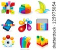 Colorful Symbols Collection. Abstract Design Elements - stock photo