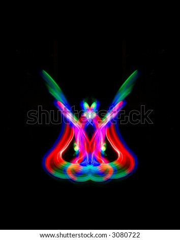 Colorful symmetric ornament on a black background - stock photo