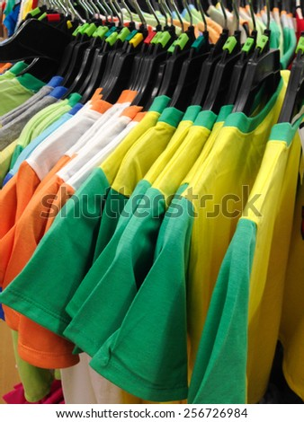 Colorful T-shirts are available for sale.