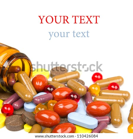 Colorful tablets with capsules - stock photo