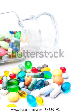 Colorful tablets with capsules