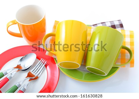 Colorful tablewares - stock photo