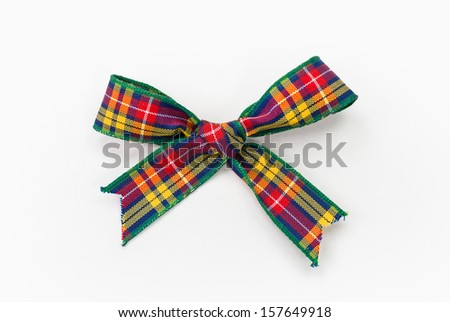 Colorful Tartan Cloth Bow Photograph (has clipping path) - stock photo