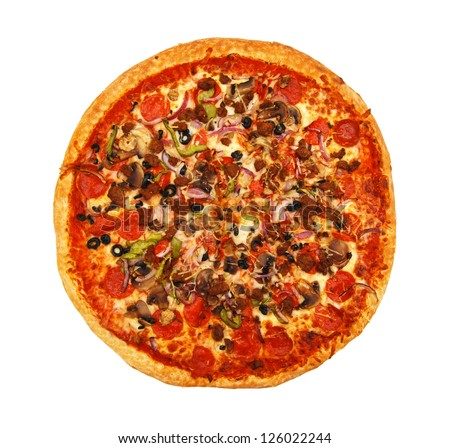 colorful tasty pizza with olives, pepperoni, ham and pepper, close-up shot, isolated on a white background - stock photo