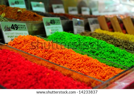 colorful tea flavors in the Grand Bazaar (market) in Istanbul, Turkey - stock photo