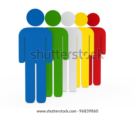 colorful team in series on with background - stock photo