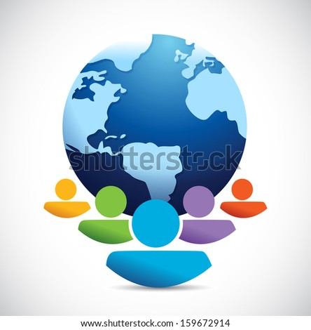 colorful team of people and a blue globe. illustration design over white - stock photo