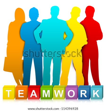 Colorful Teamwork Cube Box And Colorful Businessman For Business Concept Isolated on White Background - stock photo