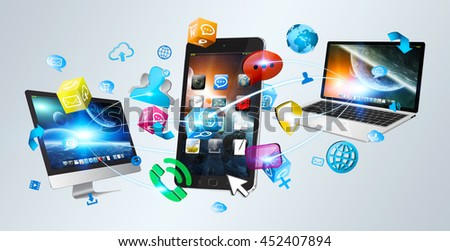 Colorful tech devices and icons applications interacting with each other '3D rendering' - stock photo