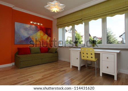 Colorful teenage room in a modern style - stock photo