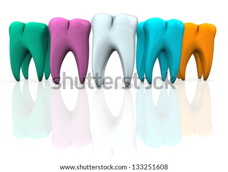 Colorful teeth on the white background. 3d illustration.