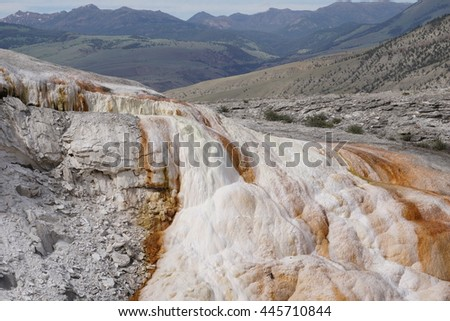 Colorful terraces and active hot springs, Mammoth Hot Springs, Yellowstone - stock photo