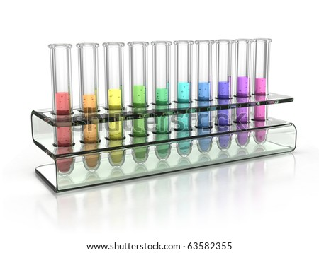 colorful test tubes - stock photo