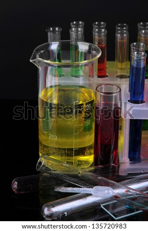 Colorful test tubes close-up
