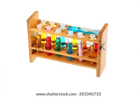 Colorful test tubes in a old fashioned wooden rack isolated over a white background - stock photo