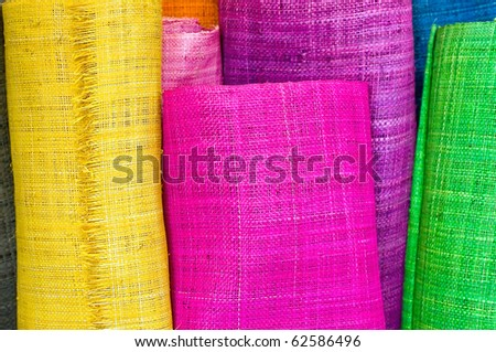 Colorful textile rolls - stock photo