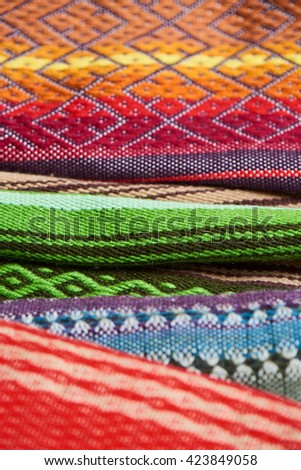 Colorful textiles, handmade close up