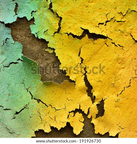 Colorful texture on the rough and cracked wall as great artistic, mixed color texture on cracked wall - stock photo