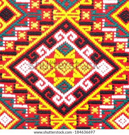 Colorful thai peruvian style rug surface close up. More of this motif & more textiles in my port.