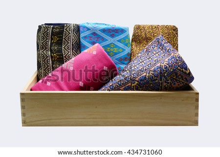 Colorful thai silk, A collection of Thai silk - stock photo