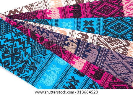 colorful Thai silk textile pattern from Handmade