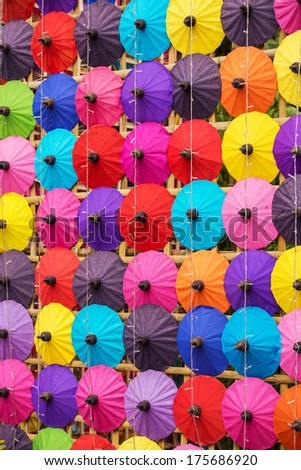 Colorful Thai traditional handmade umbrellas background - stock photo