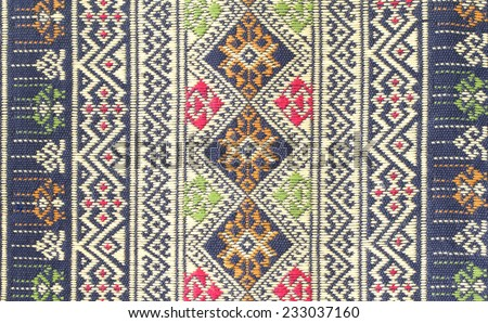 Colorful Thailand style rug surface close up vintage fabric is made of hand-woven cotton fabric More of this motif.  - stock photo